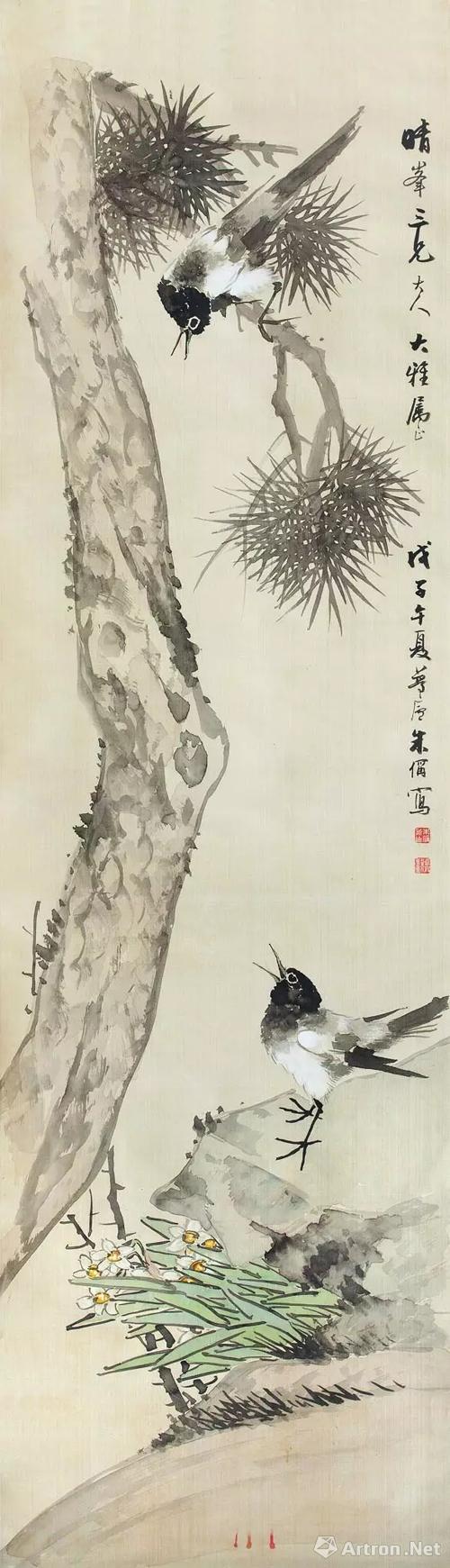 国画《松树双喜》   在中国的民间传说中,每年的七夕人间所有的喜鹊