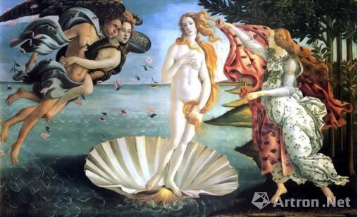 桑德罗·波提切利在文艺复兴的早期绘制了这幅《维纳斯的诞生》(约1485-1486年)。