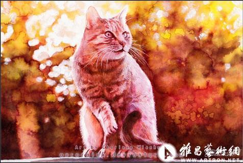 德国艺术家:可爱猫咪水彩画