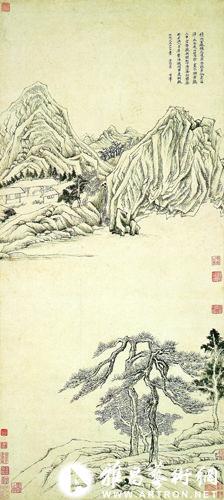 """派""""松树造型,树枝是往下斜伸(犹如雪松),将伸干出枝画得犹如人手起舞"""