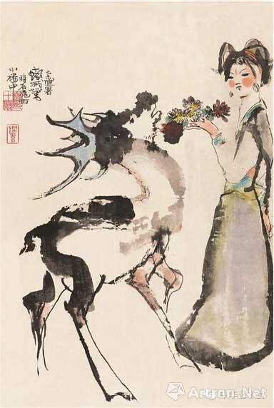 <a href='http://chengshifa.artron.net' class='cRed' target='_blank' >程十发</a> 《少女与鹿》 水墨设色、纸本 74.5x50厘米 1979年 中华艺术宫藏