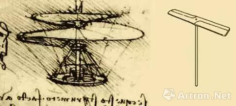 达芬奇画的直升机原理图