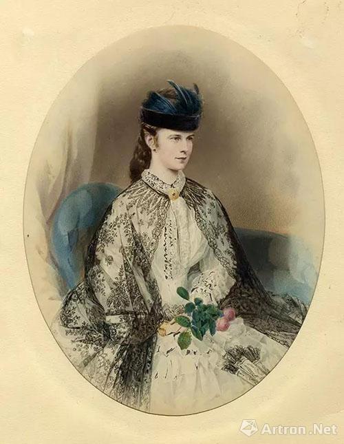 手执玫瑰花束的伊丽莎白皇后