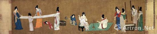 《捣练图》绢本,设色,37cm×145.3cm波士顿美术博物馆藏