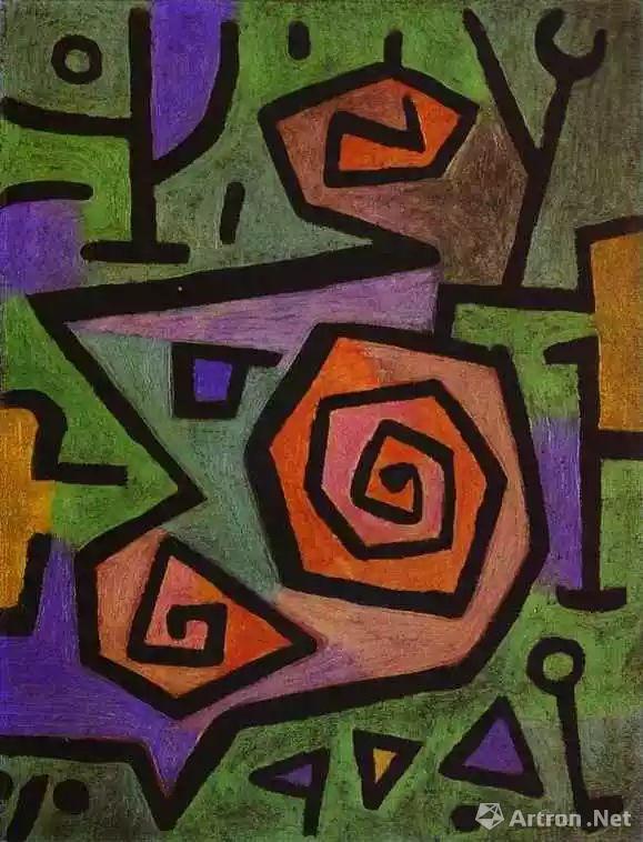 保罗·克利《Heroic Roses》,68×52cm,1938年