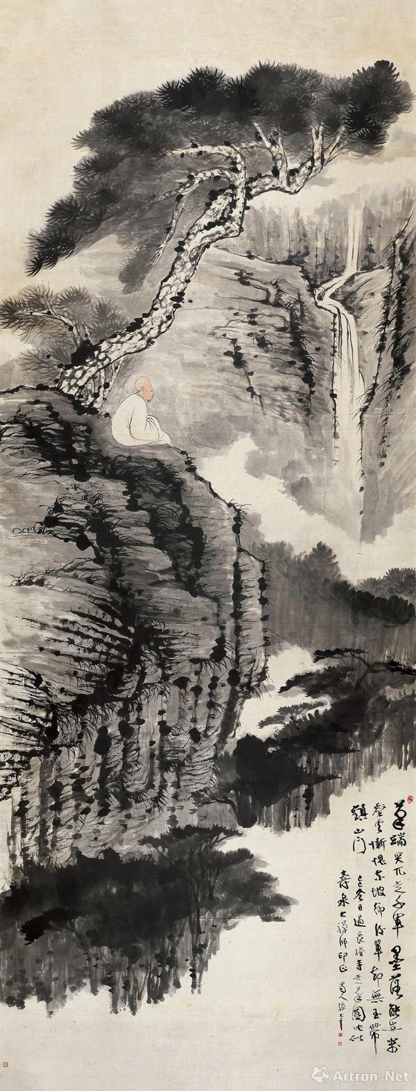 张大千 松下观瀑图镜片设色纸本 1929年作 361×140.5 cm