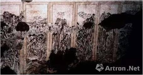 唐 陕西富平吕村唐墓 山水屏风壁画