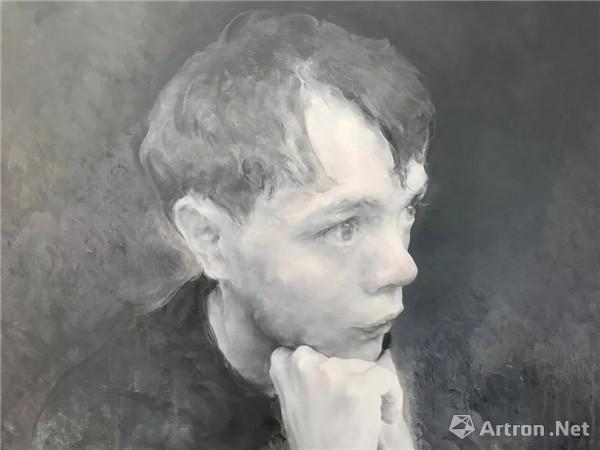布面油画《坐着的Y》 局部图 © 毛焰,佩斯画廊供图