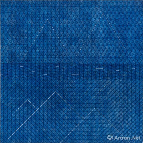 李文光 界河 2018 布面纸本拼贴、中性水笔、树脂 90×90cm