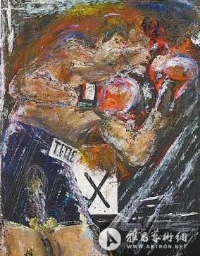 图为培根油画《拳手》